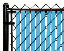 Chain Link Sky Blue Double Wall Tube™ Privacy Slat 10ft High Fence Bottom Lock
