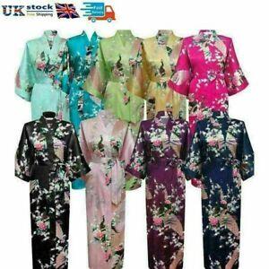 UK Bride Women Long Kimono Robes Satin Ladies Bathrobe Silk Night Dressing Gown