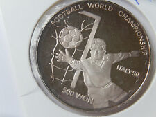 500 Won Korea 1989 Football Championship Italy 90 Silber PP
