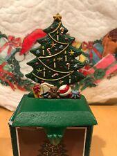 Vintage Christmas Stocking Holder Hanger Cast Iron Base Christmas Tree