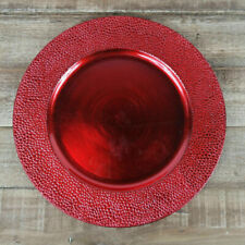 Red Charger Plates Set Of 4 Pebble Effect Decorative Dinner Serving Tableware