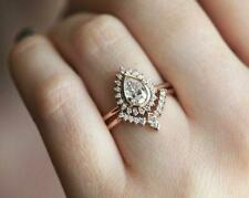 2ct Pear Cut Diamond Engagement Ring 14k Rose Gold Over Halo Curved Bridal Set