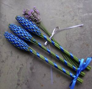 Lavender Filled Handwoven Wands 3 Medium Royal Blue Double Sided Satin Ribbon