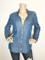Michael Kors medium chambray gold zip front roll tab sleeve top shirt blouse
