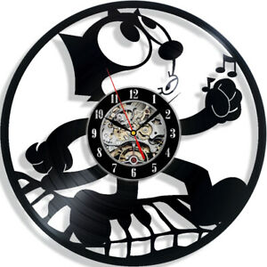 Felix the Cat Cartoon Vinyl Wall Clock Record Gift Decor Sign Feast Day Art