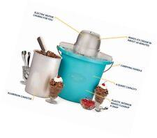 Nostalgia Blue Electric Ice Cream Maker w/ Recipe Book & Ice Cream Scoop BUNDLE!