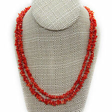 Two Genuine Natural Red Coral Chip Necklaces, 29″