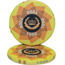 50pcs LAUREL CROWN CERAMIC POKER CHIPS 1000 DENOMINATION