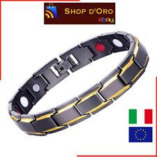 Bracciale Uomo magnetico Titanio Super Forte Terapia Terapeutico Braccialetto