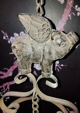 """Distressed Cast & Wrought Iron Wind Chime Pig Farm """"When Pigs Fly"""""""