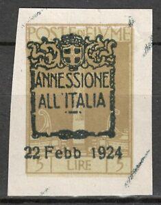 POSTE DI FIUME Italy 1924 - 5 Lire ANNESSIONE ALL' ITALIA imperforated MI.179 NG