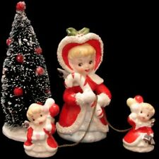 Vintage Tilso Angel Mom & Baby w Candy Cane & Bottle Brush Christmas Tree