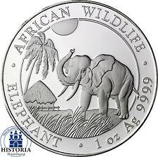 5 x somalia 100 shilling monedas de plata 2016 stgl. elefante 5 x 1 Oz plata