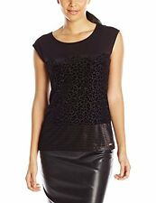 Calvin Klein M5JHE817 Black Stretch Velvet Leopard Flocked Top - $59.50