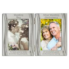 Silver 25th Wedding Anniversary Double Photo Frame 4 x 6 Inch