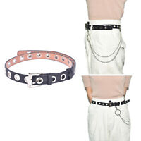 Women Men Punk Leather Belt Rivet Eyelet Stud Grommet Holes Buckle Chain NewATA