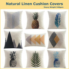 Geo Pineapple Natural Linen Print Cushion Cover Patterned Pillow Case Home Deco