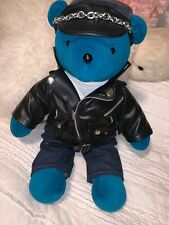 """North American Bear Co James Dean Bear Blue With """"Leather"""" Jacket Vintage 90's"""