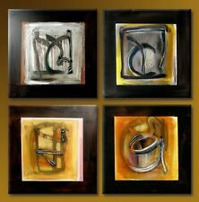 Framed Hand Paint Canvas Oil Painting Abstract Brown Black Home Decor Wall Art