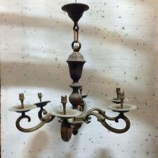 lustre hollandais en bronze ,patine original, six bras de lumière . XX siècle .
