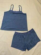 The Company Store Pajama Set Blue M Women's NWT NEW Tank Shorts Cami Lace (CN)