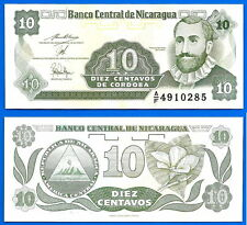 Nicaragua 10 centavos 1991 Unc Serie Af Central America Cordoba Free Ship World