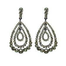 Black Cubic Zirconia and Rhinestone Chandelier Drop Earrings