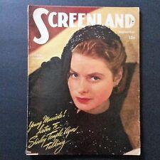 Screenland Magazine Sept 1946 Ingrid Bergman Vtg Ads Movie Stars Roy Rogers