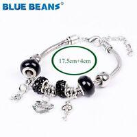 New Women's Silver & Black Beaded Charm Bracelet