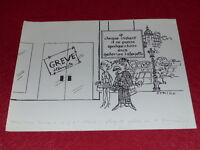 [ Bd Dessin Humorístico Prensa] Metal/Dessin Original Huelga Galerías Lafayette