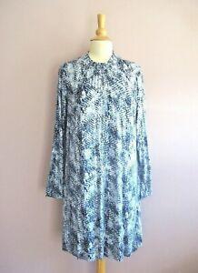 M&S Size 18 Blue Snakeskin Print Stretch Jersey High Neck Short Tunic Dress NEW