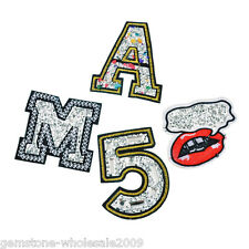 4PCs/Set Mixed Rhinestone Number Cotton Patch Iron On Garment Accessories DIY