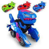 Electric Transforming Dinosaur LED Car Toys With Light Sound Tyrannosaurus Toy#