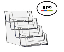 8 Acrylic Plastic Business Card Holder Displays Deflecto Style Clear 4 Pocket