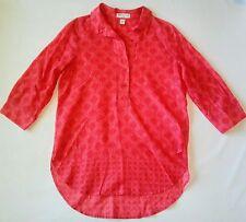 COLDWATER CREEK Tunic S 8 No Iron Lightweight Cotton ¾ Sleeve Hi-Lo Shirt Blouse