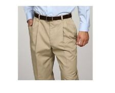 New George Men's Pleated-Front Wrinkle-Resistant Color Khaki  Pants  Size 34x34