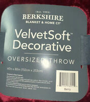NWT Berkshire Blanket Velvetsoft Decorative Oversized Throw 60x80 Various Colors