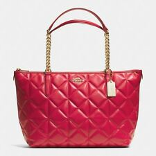 NEW COACH Zipper top Chain Tote Shoulder Bag Quilted Leather Red Gold work purse