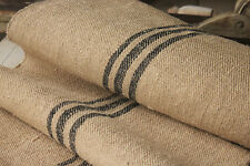 Grain Sack Fabric Vintage table / STAIR RUNNER yardage black charcoal stripe 1yd