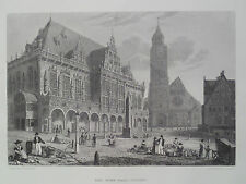 Town Hall Bremen Gothic Architecture Germany Antique Steel Engraving 1887