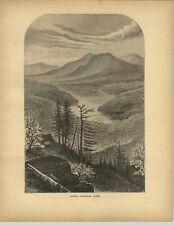 1883 Wood Engraving Upper Ausable Lake Adirondacks New York