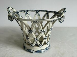 18thC Blue White CAUGHLEY Porcelain Openwork Basket Applied Flowers Leaves
