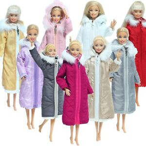 Winter Long Coat Cotton Outfits for Barbie Doll Clothes Accessories Wear Jacket