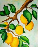 Lemon Tree Branch Kitchen Wall art Ripe Fruit Lemons Vibrant Modern Green Leaves