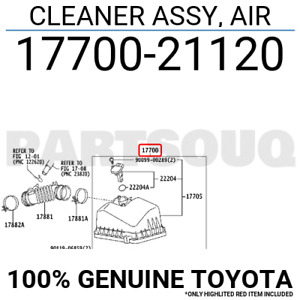 1770021120 Genuine Toyota CLEANER ASSY, AIR 17700-21120