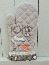 Clayre & Eef Backhandschuh Kitchen Princess Grau Punkte 100% Baumwolle 16x30cm