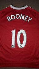 Manchester United Jersey Football Top Shirt Long Sleeve Age 9-10 Adidas Rooney