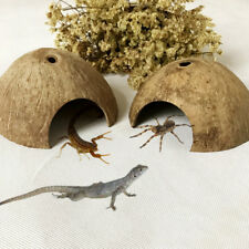 Reptile Hide Habitat Natural Coconut Shell Spider Lizard Small Animal Cave House