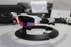 New Oakley Flak Jacket 1.0 White Text w/+Red Iridium Asian Fit 24-025J