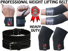 Heavy Duty Weight lifting Bodybuilding Genuine Leather Gym Power Belt & WRAPS